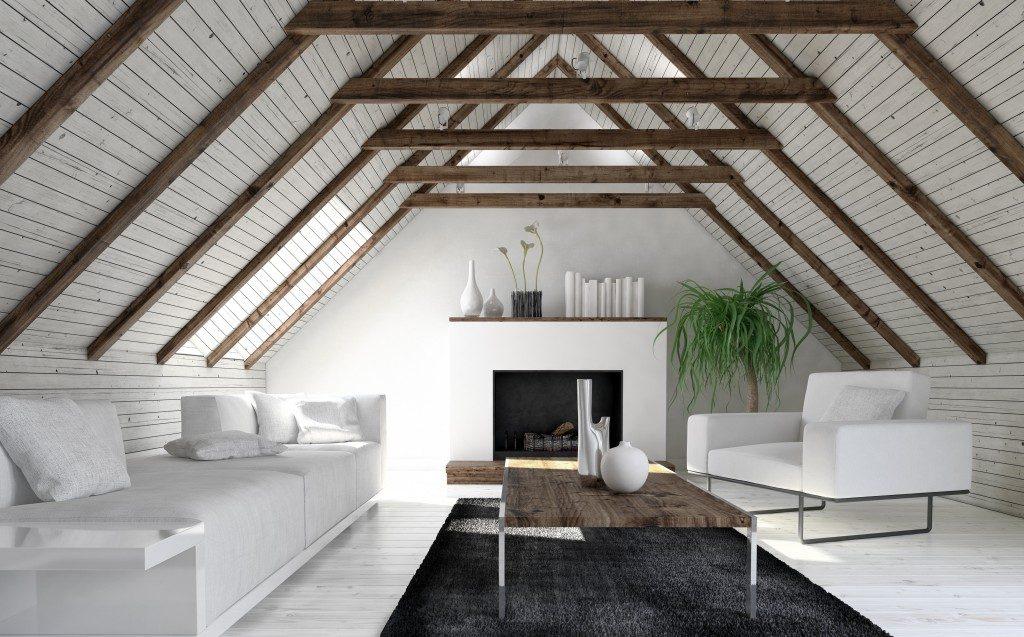 Minimalist interior designed attic