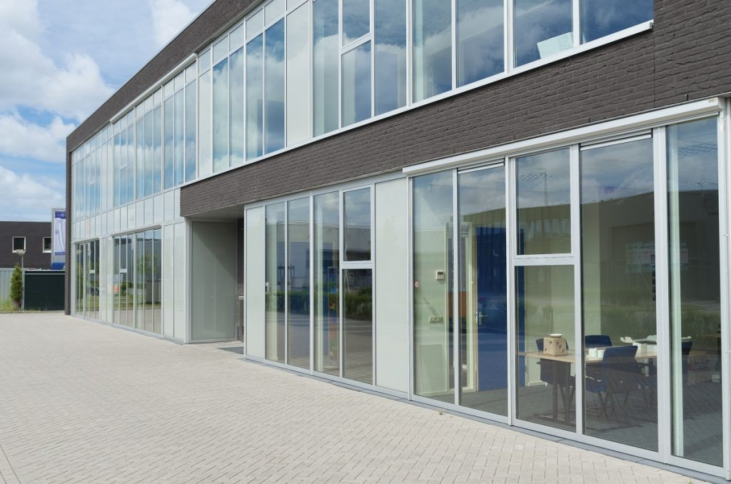 building in glass walls