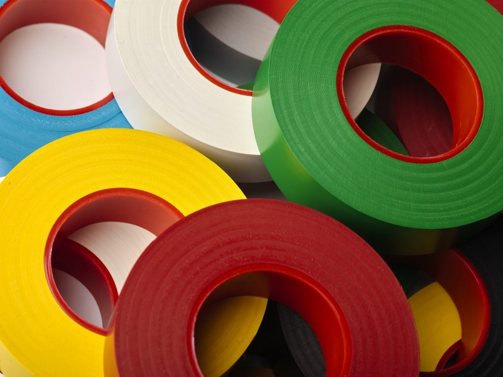adhesive tapes in different colors