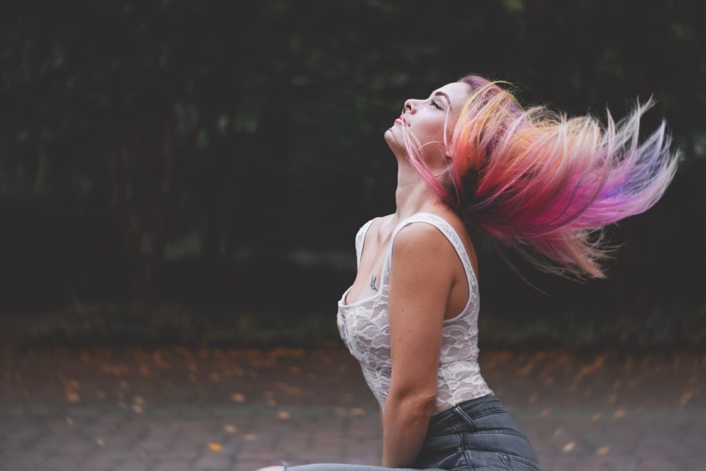 girl with colorful hair