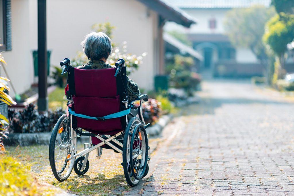 Senior citizen on a wheel chair