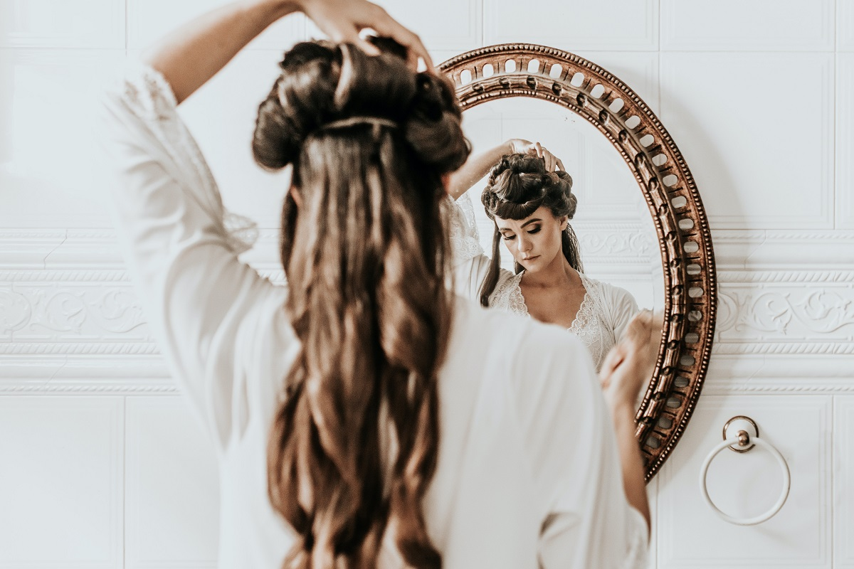 woman with hair extension