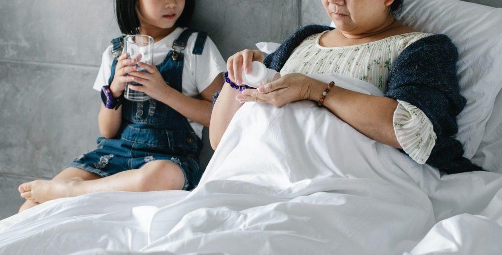parent and child having tea