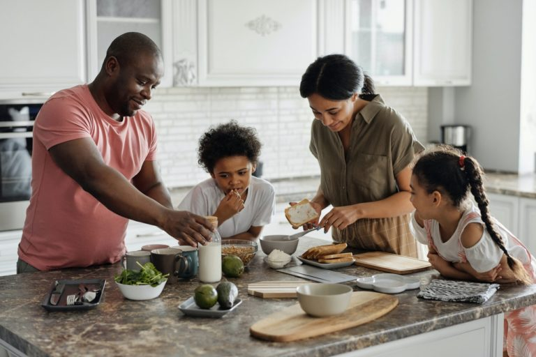 family cooking and eating