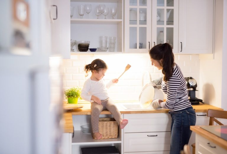mother and toddler at the kitchen