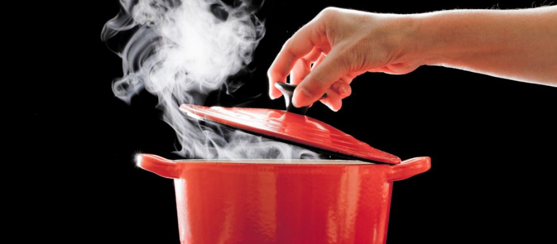 boiling meal in a pot