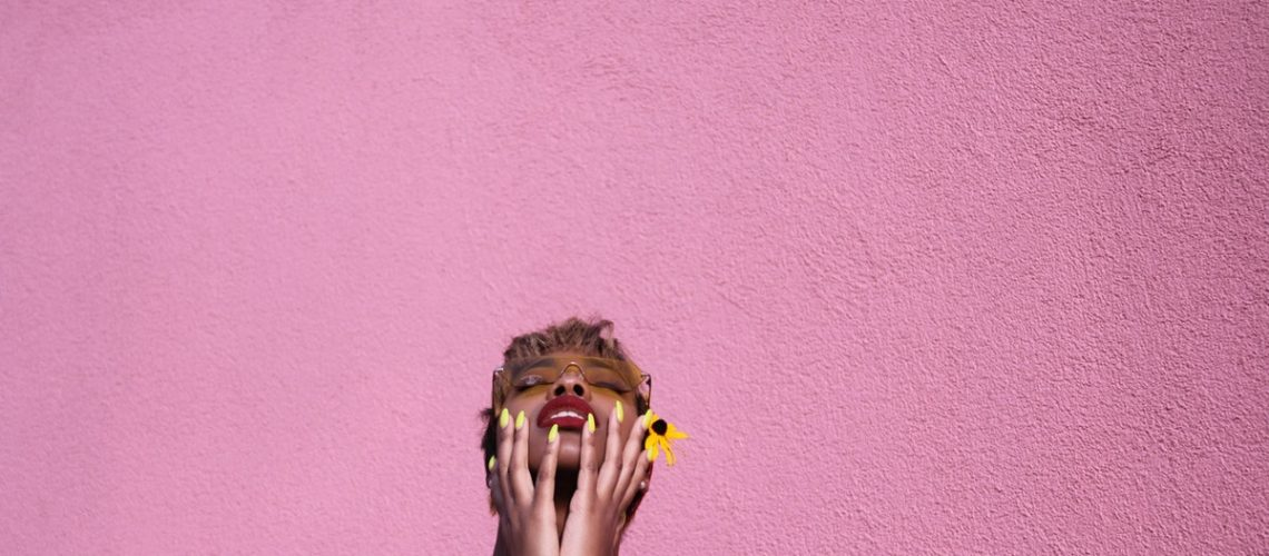 woman with yellow nails